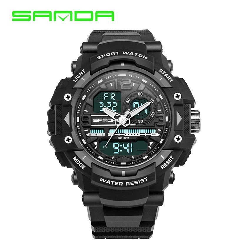 SANDA Fashion Sport Super Cool Mens Quartz Digital Watch Men Sports Watches  Luxury Brand LED Military Waterproof Wristwatches<br><br>Aliexpress