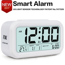 Digital Alarm Clock Student Clock Large LCD Display Snooze Electronic Kids Clock Light Sensor Nightlight Office Table Clock