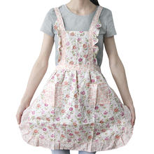 New Women Flower Floral Lace Cotton Sleeveless Bib Apron Dress With Pockets Home Kitchen Baking Cooking Supplies Gift(China)