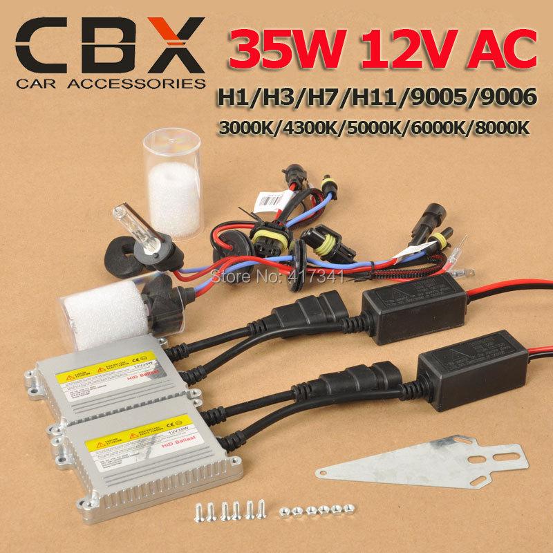High Quality 35W 12V AC  HID Kits Cnight Xenon Bulb 3000K 4300K 5000K 6000K 8000K H1 H3 H7 H11 9005 9006 + Slim Xenon Ballast<br><br>Aliexpress