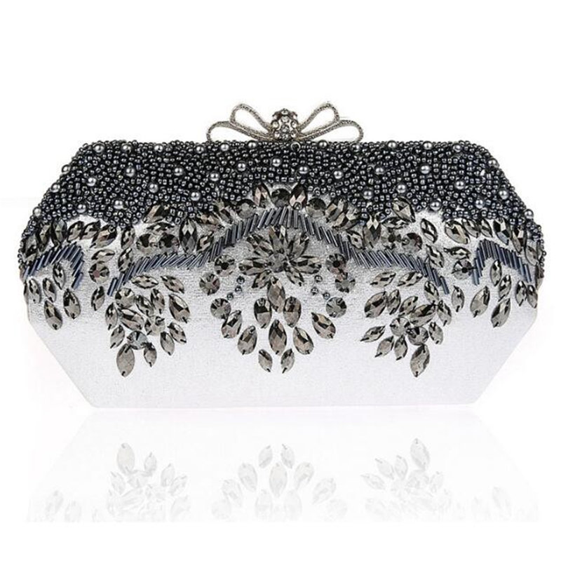 Elegant Bow Handmade Beaded Clutch Bag Women Crystal Evening Bag Party Wedding Purses Handbags Small Crossbody Bags For Women<br><br>Aliexpress