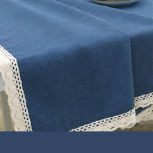 Zakka simple solid rectangle round Mediterranean lace blue linen natural tablecloth abstrakte fabric Japanese cotton dining