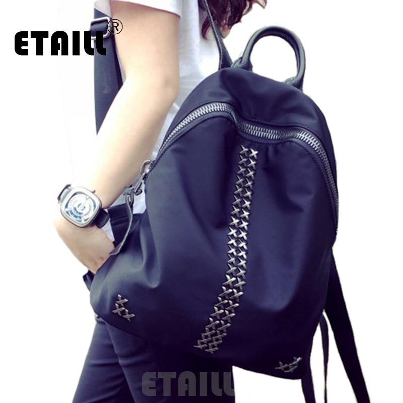 Black Small Waterproof Nylon Rivet Backpacks Women Travel Bags Famous Brand Softback Rucksacks School Bags For Teenage Girls<br>