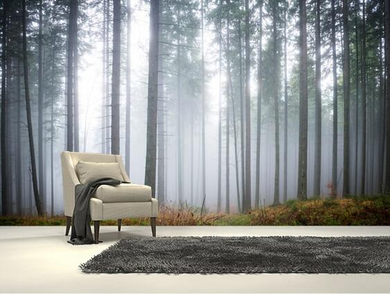 Aliexpress Com Buy Custom Natural Wallpaper Morning Forest Mistd Landscape Mural For Living