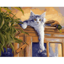 Cute Cat Canva Wall Picture DIY Digital Paint Oil Painting Living Room Cat Cafe Bar Decor Print Poster