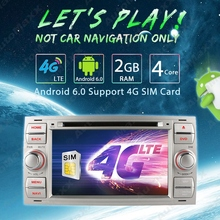 "7"" inch Silver Panel  Android 6.0 (64bit)  Quad Core DDR3 2G/4G LTE Car DVD GPS Radio Head Unit For Ford Focus/Mondeo #J-4997"