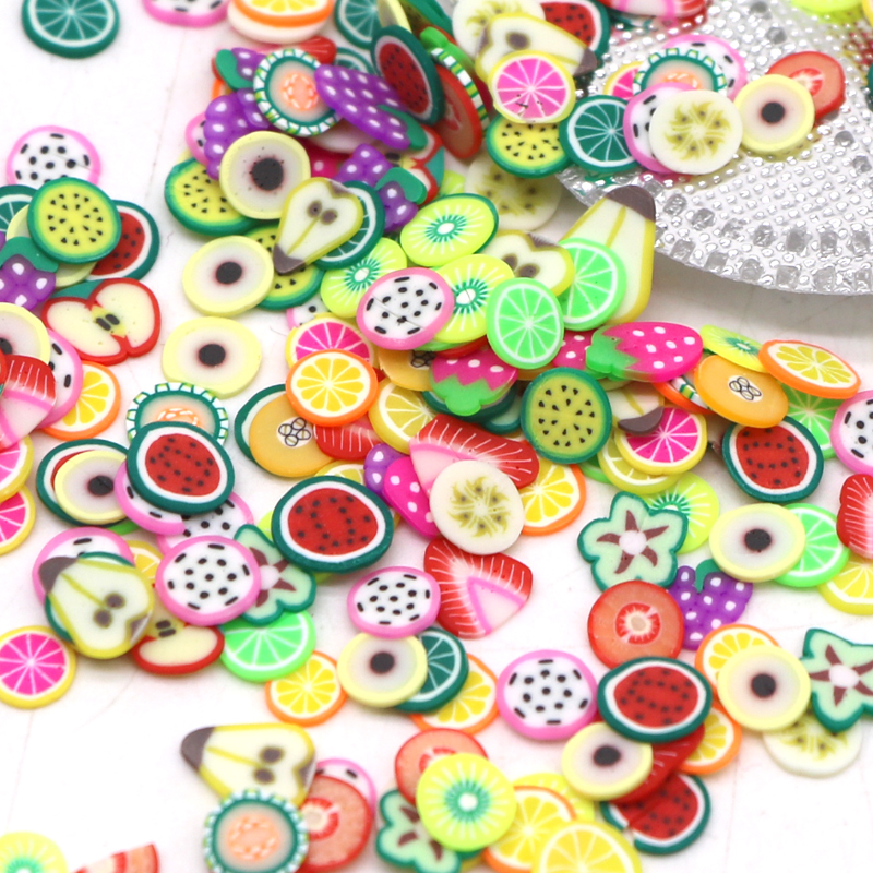 5bag Nail Art 3D Fruit Feather Heart Flower Candy Tiny Fimo Slices ...