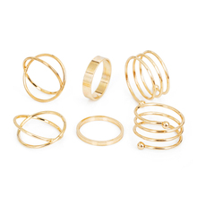 Tomtosh Hot Unique Ring Set Punk Gold Color Knuckle Rings for women Finger Ring 6 PCS Ring Set Best Selling 2017(China)