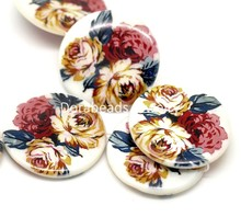 "DoreenBeads 1 Strand Multicolor Floral Flower Pattern Round Shell Loose Beads 30mm(1-1/8"") 38cm long (B18270), yiwu"