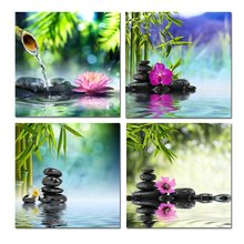 Canvas Painting new 4 piece/set new Bamboo Black Spa Zen Stone Prints on Canvas Walls Art Work Decoration for home Giclee\R155(China)