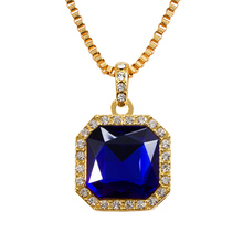 hiphop rick ross style onyx pendent black blue gems stone men necklace bling bling gold color jewellery N212