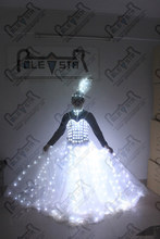 high quality LED wedding dress shine LED dress for stage show hand make export LED products