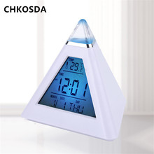 7 LED Change Colors Pyramid Digital Electronic Alarm Clock Auto Thermometer Snooze Function Kids Alarm Clock Relogio De Mesa(China)