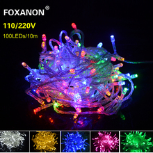 9 Colors 10M LED Strip light 220V Christmas Wedding Party Festival WaterProof Decoration 100 LEDs String lamp Holiday Lighting(China)