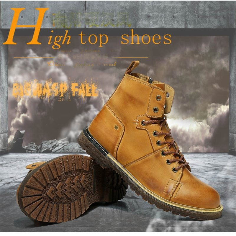 Genuine Leather Men Boots,Fashion Work Shoes Men,High Top Winter Boot,New Designers Round Toe Students Hot Sale Walking Footwear<br><br>Aliexpress