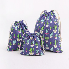 1pcs Cactus Pattern Navy Blue Drawstring Cotton Linen Storage Bag Gift Candy Jewelry Organizer Makeup Cosmetic Coins Bags 49042