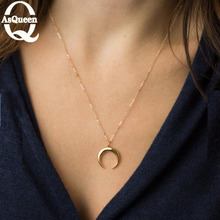2017 Fashion silver gold moon pendant charm necklace for woman cute neck jewelry statement(China)