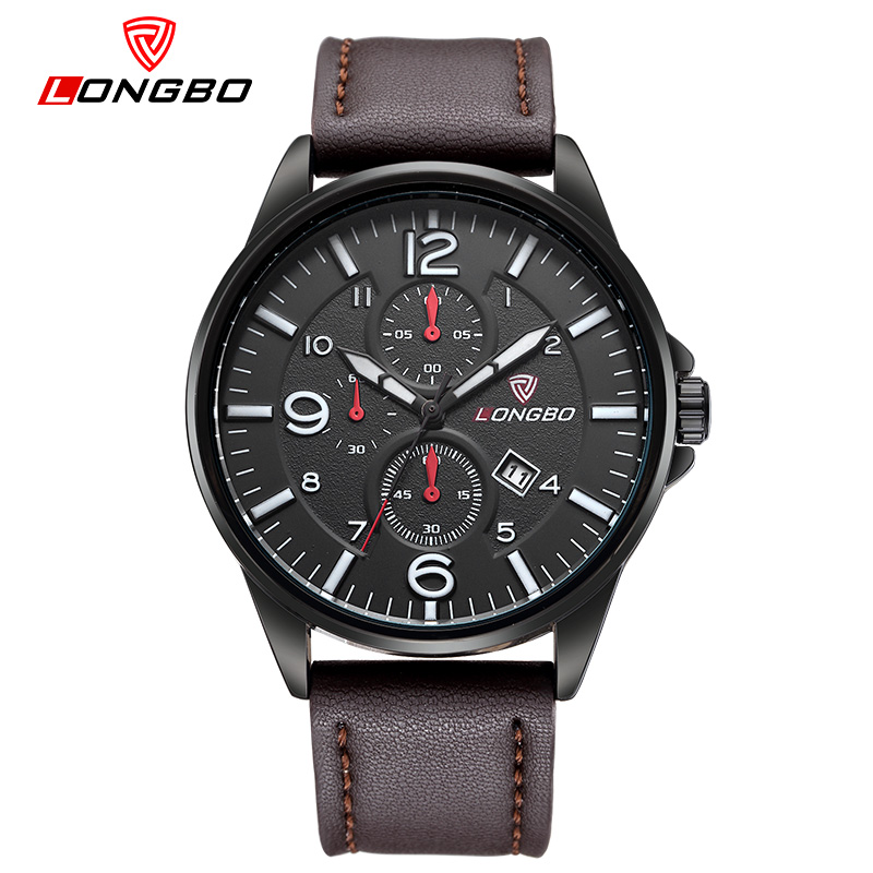 2016 Top Brand LONGBO Waterproof Sport Watch Auto Date Military Watch Men Leather Quartz Watch relogio masculino reloj hombre<br><br>Aliexpress