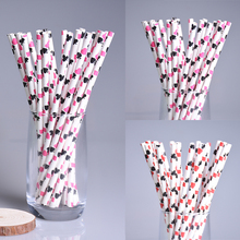 New 100pcs/lot Poker Pattern Paper Drinking Straws For Kids Birthday Wedding Christmas Paper Straws Party Decor Baby Shower