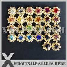 14mm Small Flat Back Metal Rhinestone Embllishment Gold Button For Flower Center,Hair Clip,Headband,Mixed 26 Colors