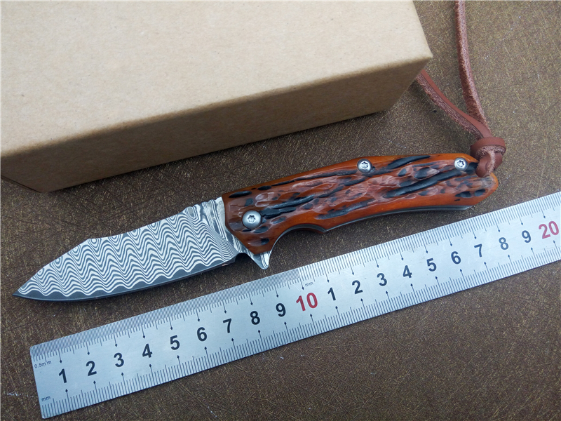 VOLTRON Damascus blade tactical folding knife wood handle outdoor utility camping survival knife hunting hand tool knives<br>