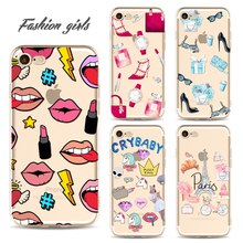 Painted Mobile Phone Cover Case for iphone 6 6s 6Plus 7 7s 7plus Soft Slim TPU Fashion Makeup Phone Cases(China)