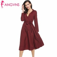 Buy ANGVNS Women Deep V-Neck Sexy Dress 2017 Spring Elegant Full Sleeve Pleated Midi Dresses Lady Party Vestidos Belt, Pocket for $15.80 in AliExpress store