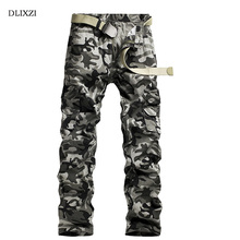 DLIXZI Camouflage Cargo Pants Military Style Tactical Trousers Fashion Slim Fit Straight Army Camo Male Cotton casual clothing(China)