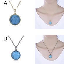 Vintage Adjustable Gold Chain Circular Pendant Necklaces Fashion Jewelry Accessory For Women Lady Gift