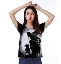 Track Ship+New Vintage Retro T-shirt Top Tee Young Girl Witch Top Hat with Black Cat and Skeleton 0959(Hong Kong)