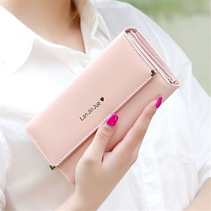 New Sweet Love Rivet Three Fold  Wallet Women Wallets And Purses Female Large Zipper Long High Quality Leather Credit Card Lady<br><br>Aliexpress