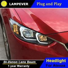 Lampever Styling for Mazda6 Atenza LED Headlight Mazda 6 Headlights DRL Lens Double Beam H7 HID Xenon Car Accessories