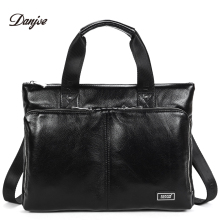 DANJUE New Handbag Male Genuine Leather Men Business Briefcase Men Laptop Bag Zipper Big Capacity Man Shoulder Bag