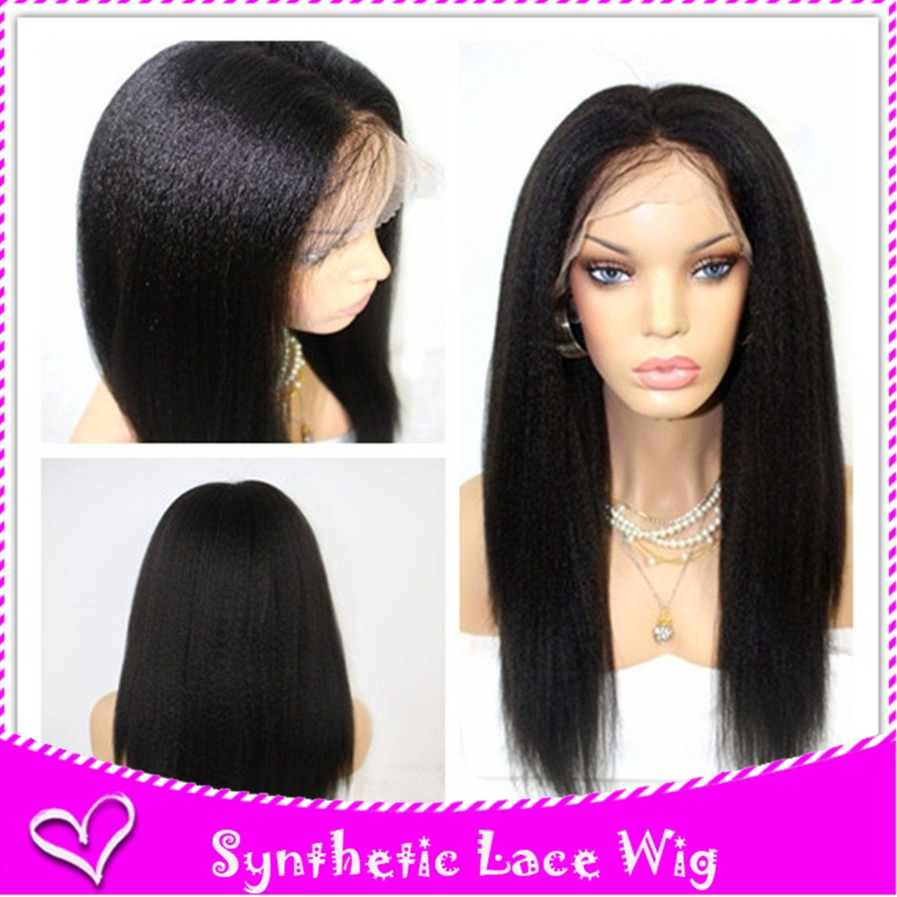 Full hair lace front wig light yaki synthetic glueless more baby hair free part soft swiss medium brown lace can be heat stock<br><br>Aliexpress