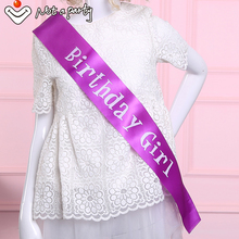 Purple birthday girl sash fun adult ceremony gift 18 21 30 40 50 60 birthday souvenir ribbons event party supplies