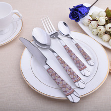2016 Set Silver Cutlery Stainless Steel Dinnerware 4Pc Quality Fork Spoon Knife Flatware Restaurant Tableware Markdown Sale