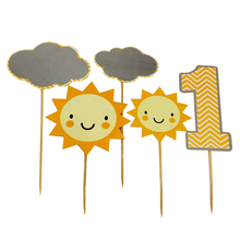 Wholesale 5PCS DIY Sun Cloud 1 Year Old Baby Birthday Party Decoration Baby Shower Cake Toppers Cute paper Flags for Party(China)
