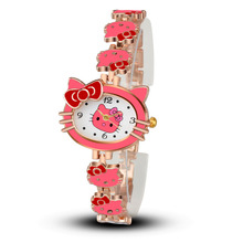 Women Watch Cartoon Bracelet Pink Hello kitty Wristwatch Watches Fashion Kids Clock Children Watches relojes saat montre femme(China)