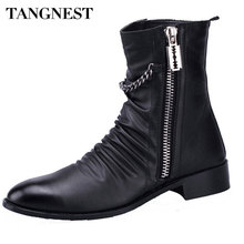 Tangnest 2017 Autumn Winter Men Boots British Chains Men Boots Fashion Pointed Toe Martin Boot Man Casual Low Heel Shoes XMX452