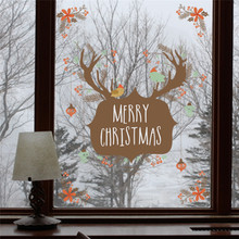 Merry Christmas Deer Decoration Wall Sticker Decals Window Party Bathroom Toilet Decoration New Year Home Decor Poster Mural(China)