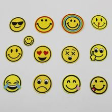 1pcs/lot Cartoon Smiley Laugh To Tear Embroidery Iron On Patches Clothes Appliques Sew On Motif Badge DIY Clothing Bag
