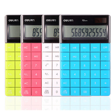 LCD Display Hot sale Creative Slim Portable mini 12 digital calculator Solar Energy deli keyboard Dual Students Children Gift