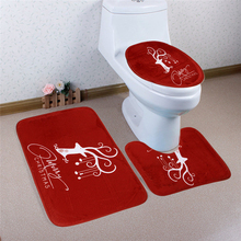 3Pcs Christmas Decorations Happy Santa Toilet Seat Cover and Rug Bathroom Set Eco Friendly Toilet Foot Pad Seat Cover Cap(China)