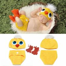 Yellow Chicks Baby Photo Prop Photography Set Infant Bunny/Chick Decoration Party Easter Costume(China)