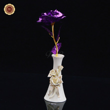 WR 24k Gold Plated Flower Rose with Resin Vase Stand Decorative Purple Flowers & Gift Box for Lover Best Valentine Ideas Gifts