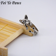 1 Piece Mix Color Vintage Hippie Chic Handmade French Bulldog Ring Cute Animal Boho Brass Knuckles Dog Rings For Men Fashion