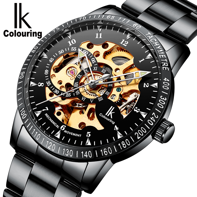 IK Coloring Watch Mens Luminous Allochroic Skeleton Auto Mechanical Wristwatch with Box Free Ship<br>