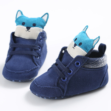 2017 New Fashion Baby Newborn Kids First Walkers Shoes Cute Cartoon 3D Fox Infant Toddler Soft Soled Cotton Padded Sneakers Boot