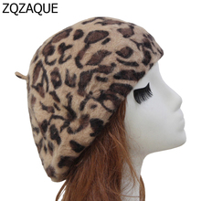 Autumn and Winter New Fashion Female Warm Beret Leopard Pattern Women's Hats Angola Rabbit Hair Painter Caps Free Shipping SY321