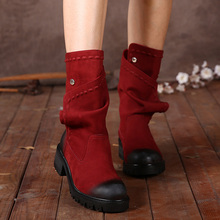 2017 Winter Genuine Leather Women Boots Round Toes Handmade Color Button Mid Calf Vintage Women Warm Boots Fur